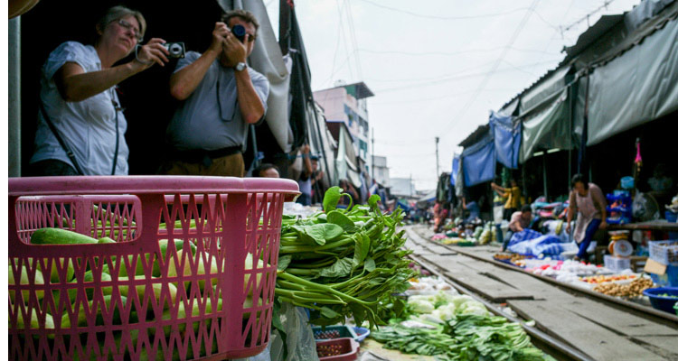 Railway in the middle of floating market