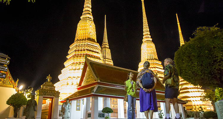 Temple in the midnight Bangkok