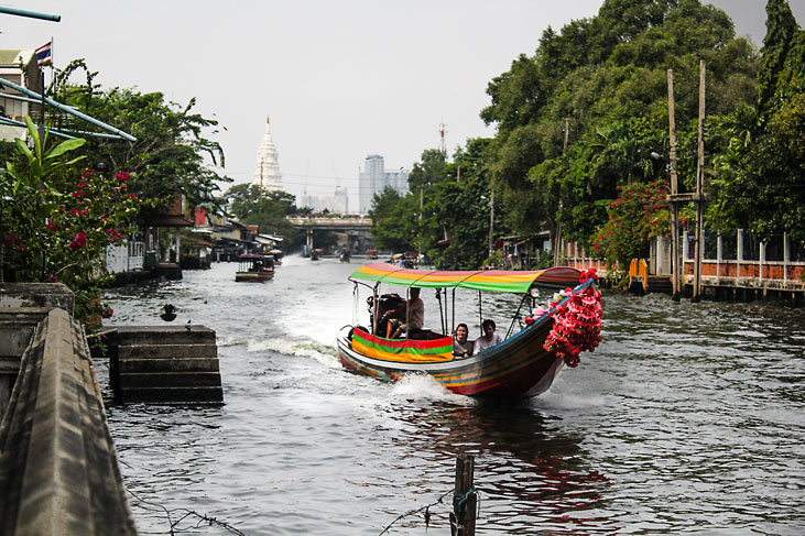 Long tail boat ride on Thonburi canal, Bangkok