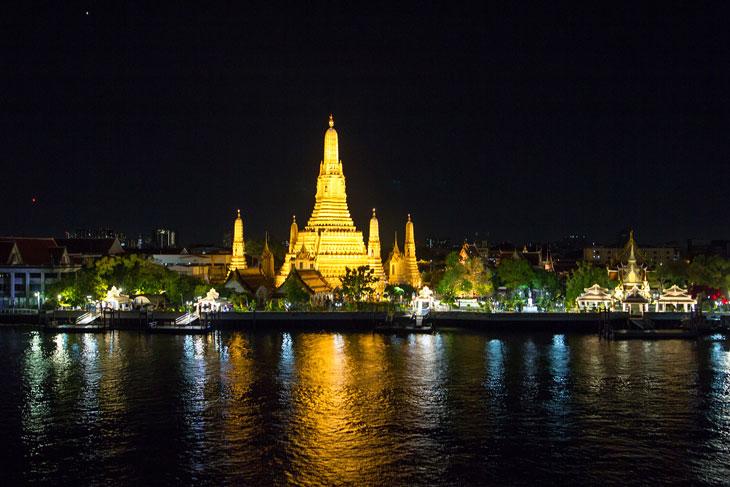 Bangkok Pagoda at night by Chao phaya river