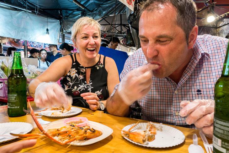 Grill prawn at Bangkok night market