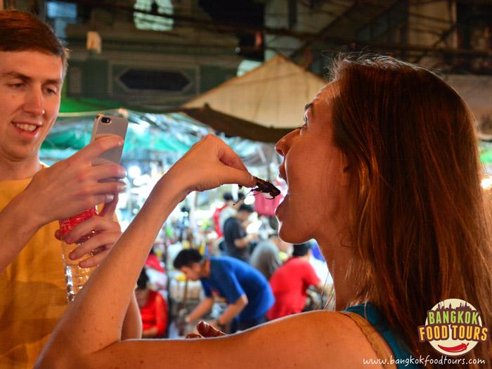 Tourist eating fried insects | Bangkok Bizarre Food | Bangkok Food Tours