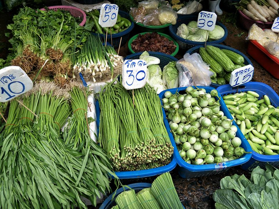 A vegetable stall at Klong Toey Market | Bangkok fresh markets | Bangkok Food Tours