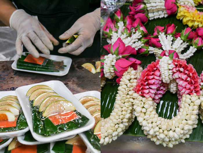 Betel nut package & flower garlands at Pak Klong Talad Flower Market | Bangkok fresh markets | Bangkok Food Tours