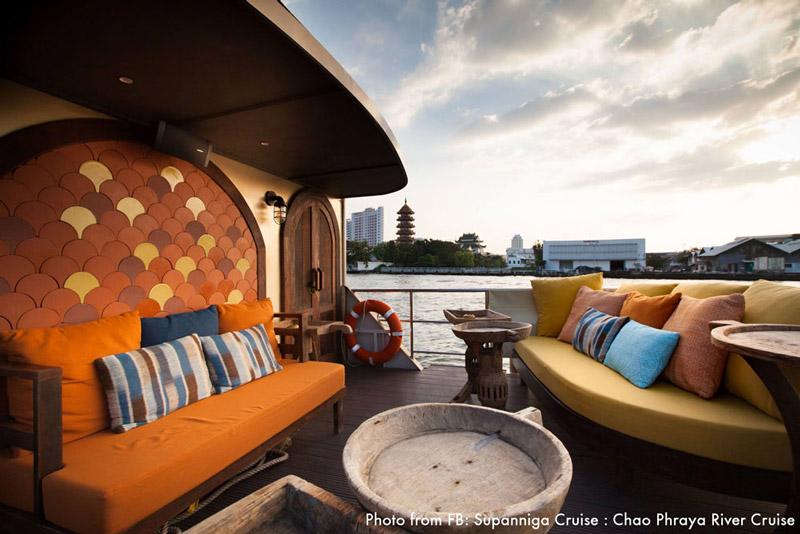 Upper deck of Supanniga Cruise | Valentine's Day in Bangkok | Bangkok Food Tours