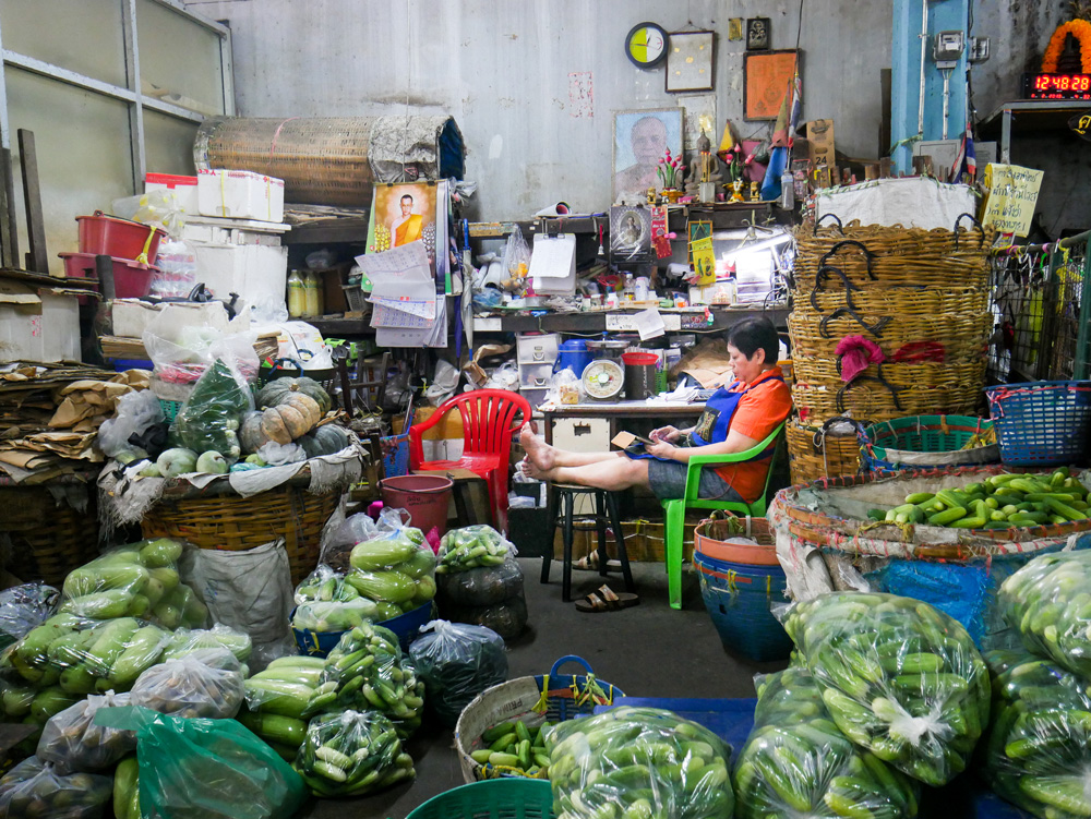 Vegetable vendor at Pak Klong Talad Flower Market | Bangkok fresh markets | Bangkok Food Tours
