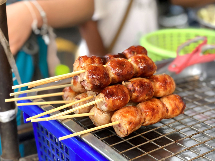 Northeastern Thai sausage | Thai street snacks | Bangkok Food Tours