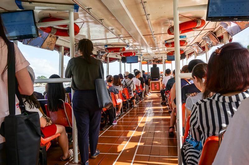 Passengers on Chao Phraya Express Boat (2) | Chao Phraya River Sightseeing | Bangkok Food Tours