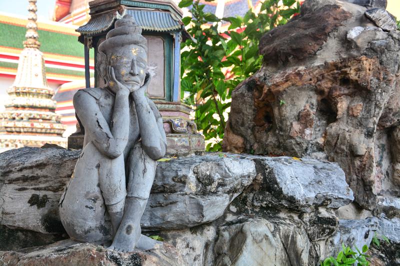 Rue-si Datton statues Wat Pho   Chao Phraya River Sightseeing   Bangkok Food Tours