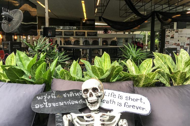 Kid Mai Death Awareness Cafe_skeleton | Instagramable cafes in Bangkok | Bangkok Food Tours