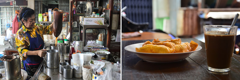 Traditional Thai coffee and Chinese fried dough | Canal tour in Bangkok | Bangkok Food Tours